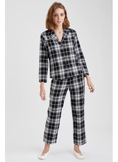 Defacto –Fit Ekoseli Gömlek Tasarımlı Pijama Takımı Siyah